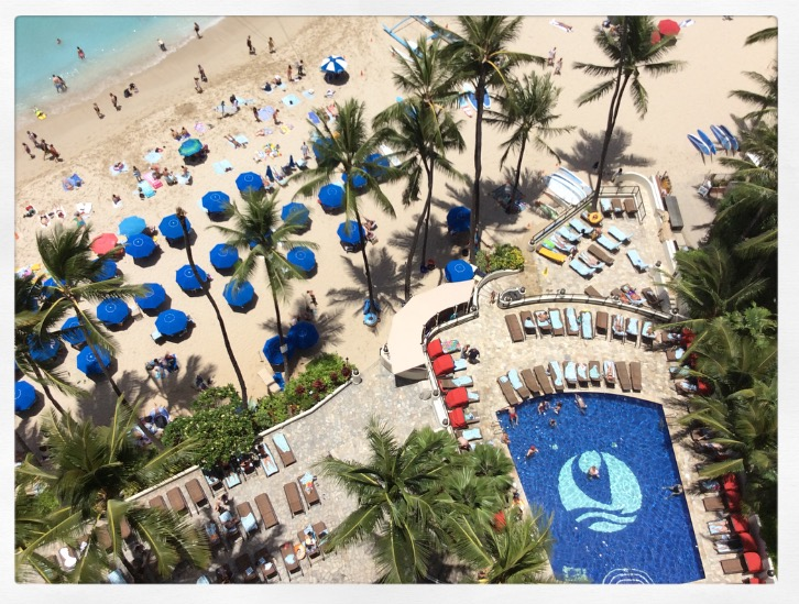 ocean front balcony and Outrigger Waikiki pool